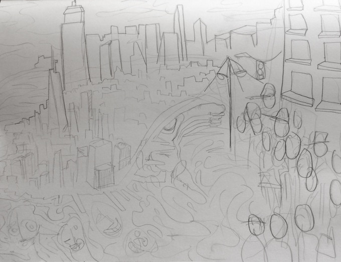 Mock-up sketch of the 'New York' painting, all subject to change due to donor's input and contribution.