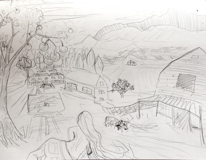 Mock-up sketch of the 'Farms in Georgia' painting, all subject to change due to donor's input and contribution.