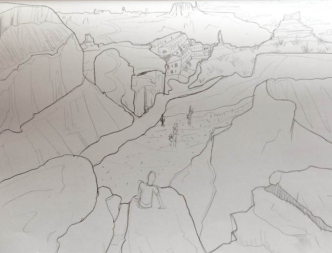 Mock-up sketch of the 'The Grand Canyon' painting, all subject to change due to donor's input and contribution.