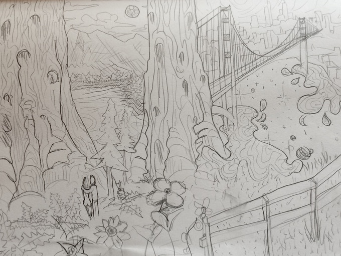 Mock-up sketch of the 'Sequoias & San Fransisco' painting, all subject to change due to donor's input and contribution.