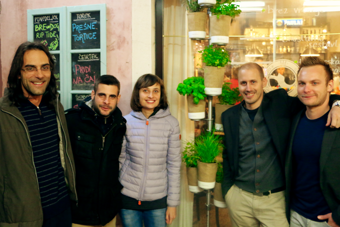 The Urban Planty team at the Kickstarter launch party in Koper, Slovenia
