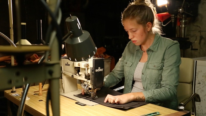 Jess Hanson sewing up the next prototype