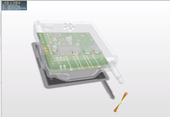 3D model of the circuit board within the enclosure