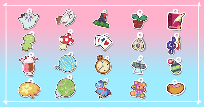 The 20 different charms you can play with in the Tiny Swords game AND get as actual acrylic charms! Which one's your favorite?