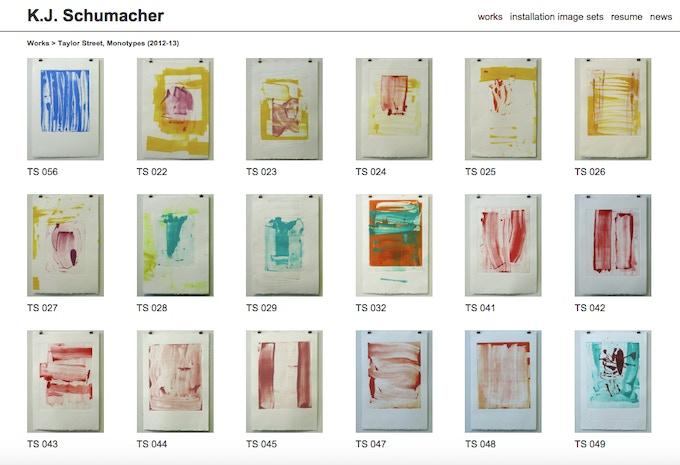 "K.J. Schumacher / Title: ""Taylor Street Monotypes series"" / Size: 15"" x 22"""
