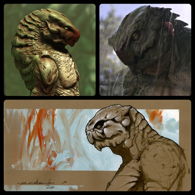 The action figure, the actual creature from the film, and the design sketch that started it all.