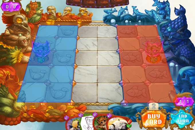 The blue area is the Friendly Zone where you summon your units. The red area is the Enemy Zone where your opponent summons their units. The area in the middle is the Neutral Zone.