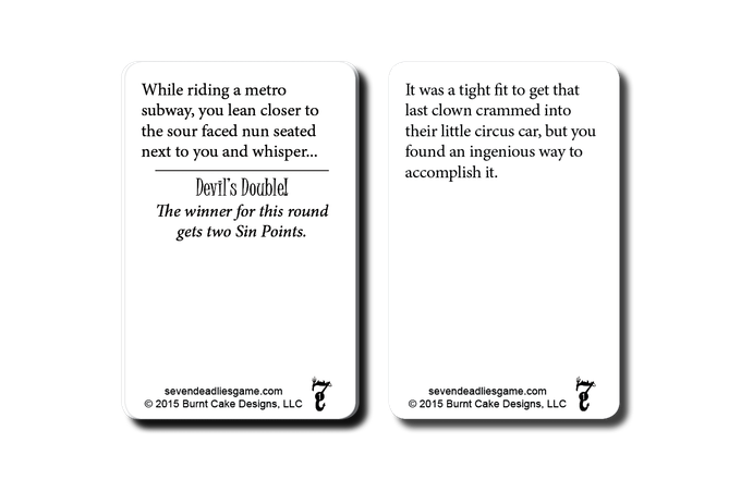 Evil Temptation cards set up the Deadly Sins the other players will need to commit.