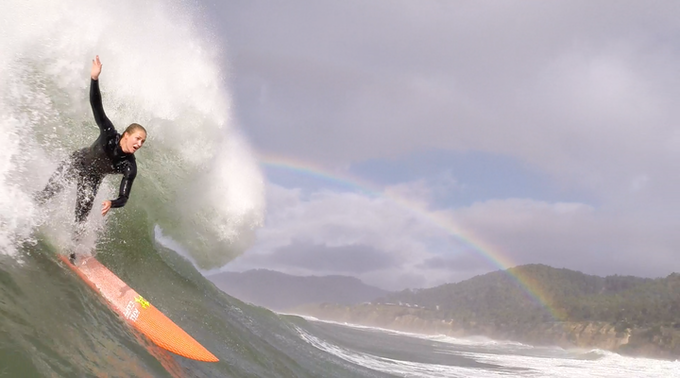 Paige Alms charges a secret NorCal spot during the culminating week of Super Sessions I