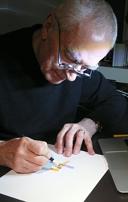 Massimo Vignelli showing how he designed the 1972 subway map. Photo: Peter B. Lloyd