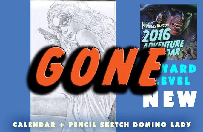 Signed Calendar, Original pencil sketch for the DOMINO LADY: MONEY SHOT cover.