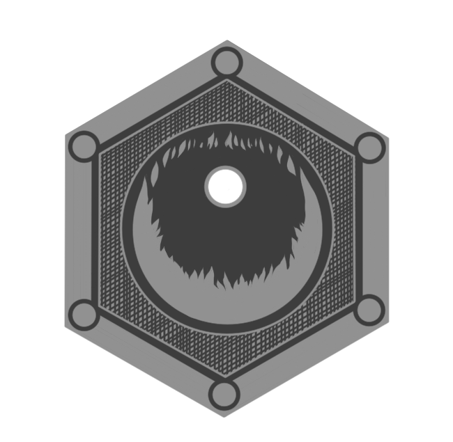 "Greyscale image of our 2 denomination ""Crucible"" coin"