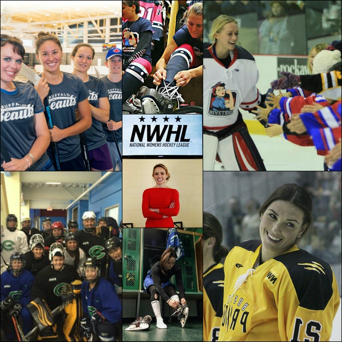 Photo credits, Left Column: Buffalo.com, Today's Slapshot. Center Column: Bruce Bennett/Getty Images, NYC Urban Life, Shiann Darkangelo. Right Column: NWHL, Meg Linehan.