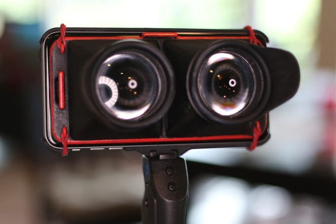 """Prototype of the NEODiVR """"Loupe,"""" NEODiMOUNT+, and the Grip&Shoot handle"""