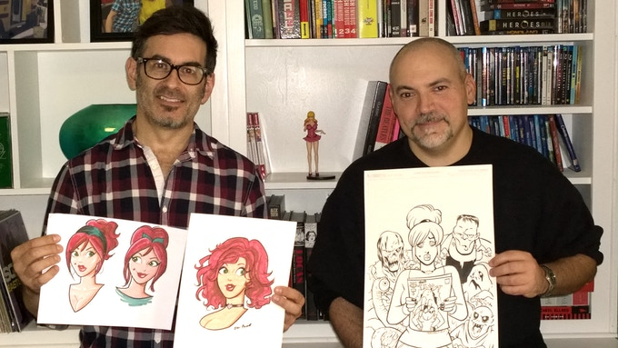 "Creators Dan Parent and Fernando Ruiz pose with some of their artwork for ""Die Kitty Die!"""
