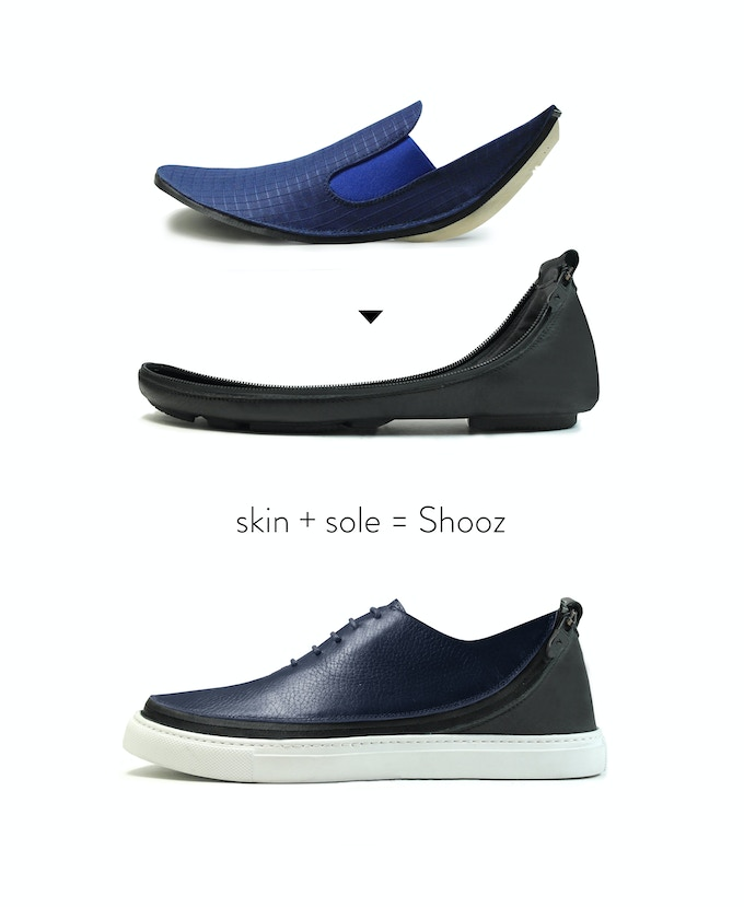 180cdf14 Shooz are made up of two different, interchangeable parts: a Shooz Skin and  a Shooz Sole. Connect the ends of the skin and the sole special waterproof  ...