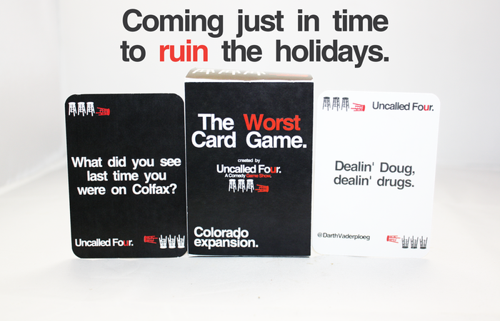 Love Cards Against Humanity™? The Worst Card Game is a Colorado-themed third party expansion that works with your existing set.