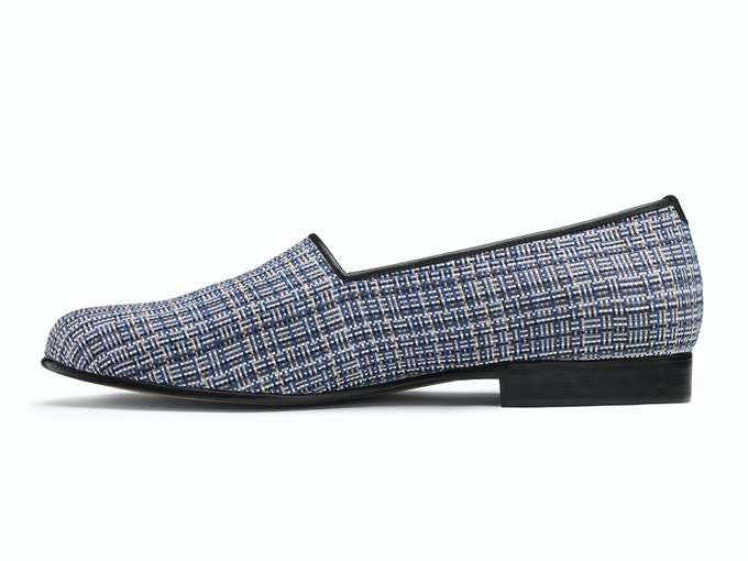 St Ives - blue pixel weave