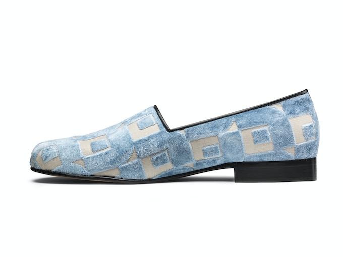 Cromer - ocean blue Art deco velvet
