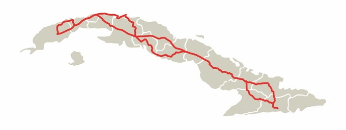 Piotr Degler 's route done in Cuba searching for treasures