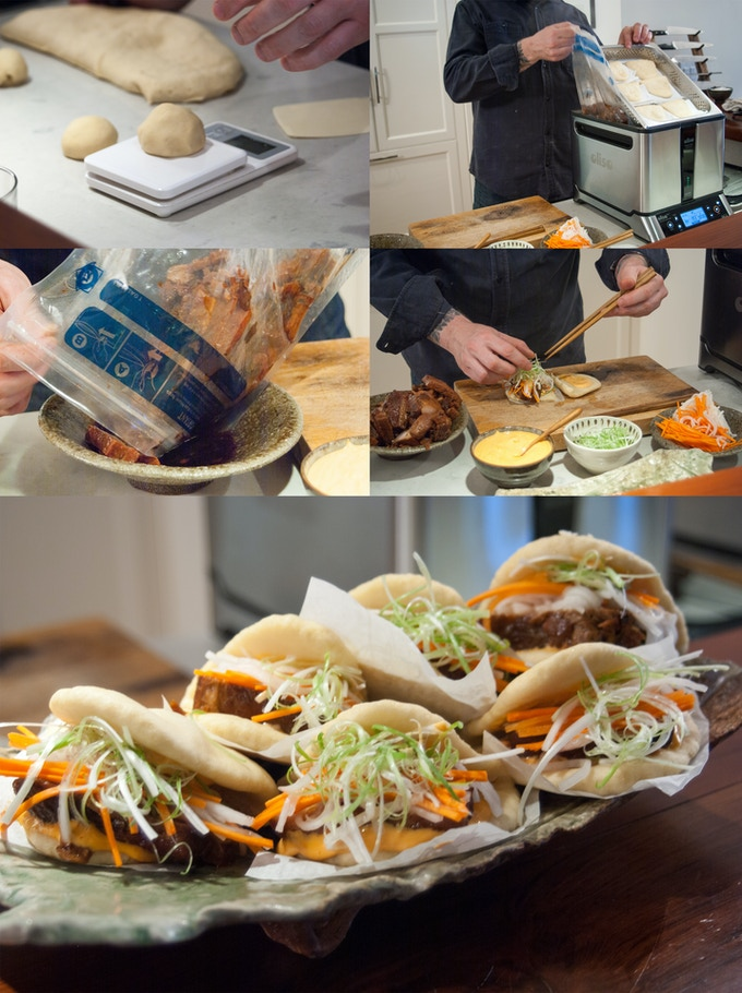 Pork buns with pickled carrots and daikon, with sriracha mayonnaise