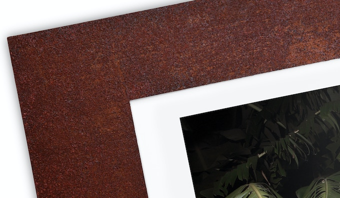 Detail of the special rusted and protected frame