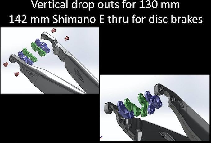 Rear drop out spacing. .  Shimano E thru 142x 12 mm disc brake spacing,  Vertical drop out 130 mm rim brake spacing