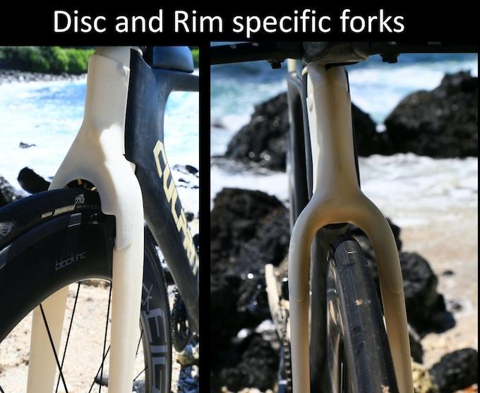 Rim or Disc specific forks.  (Rim fork will undergo changes upon final brake design from TRP)