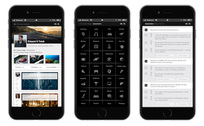 smartphone division list, active forum and personal division interface