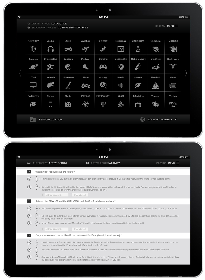 Tablet Division list and Active Forum interface