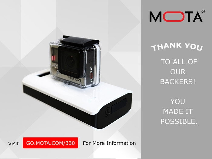 "Recharge your GoPro in its housing wherever you are with MOTA Wireless Charger for GoPro®. CNET rated ""Excellent""."