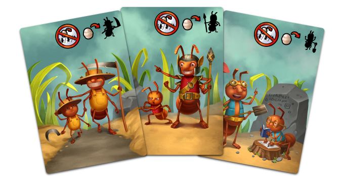 These Special Cards can be used to give birth to a specific type of ant, even if the action is unavailable this turn.