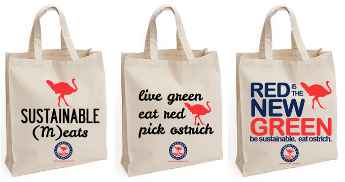 Grocery Tote options: Sustainable (M)eats; Live Green Eat Red; and Red is the New Green