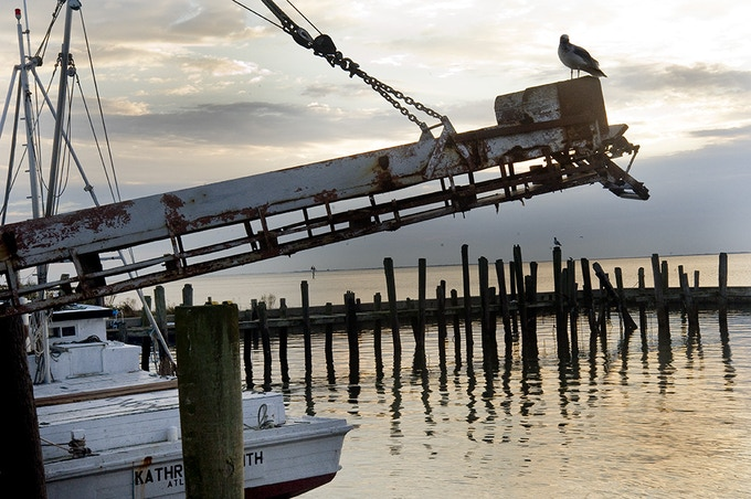 The docks at Luther Smith Seafood in Atlantic were quiet on a recent November sunrise.  Were all the boats out fishing, or were there no boats fishing?
