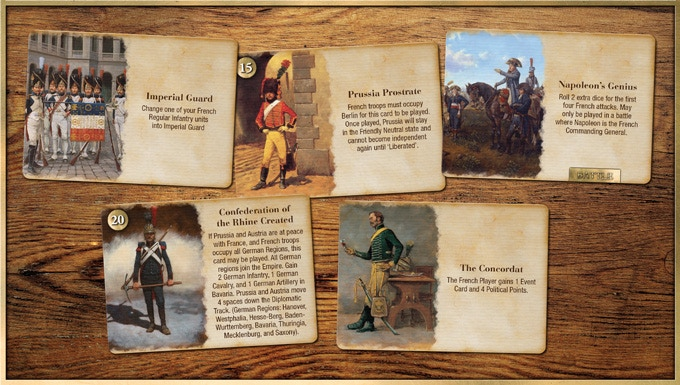Just a few of the 100+ French Event Cards in the game