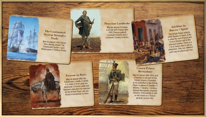 Just a few of the 100+ British Event Cards in the game