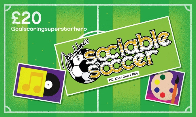 £20 – GOALSCORINGSUPERSTARHERO –All previous rewards plus: A digital version of Sami Arola's 2015 remix of classic theme tune 'Goalscoringsuperstarhero' and a bumper pack of exclusive Sociable Soccer digital concept artwork