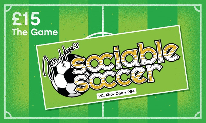 £15 – THE GAME – Access to our development updates plus a digital copy of Sociable Soccer for PC, PlayStation 4 or Xbox One (Team Editor includes access to player hair styles and colours exclusive to Kickstarter backers)