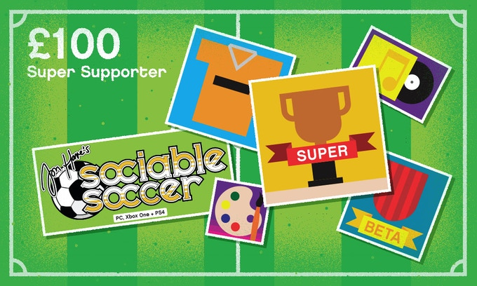 £100 – SUPER SUPPORTER – All previous rewards plus: Your name listed in the credits of the game as a supporter of the club or country of your choice