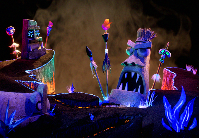 Our Tiki Idols bask in the cool glow of the black-light