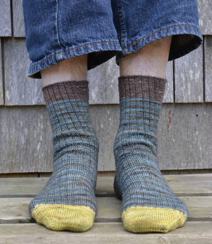 favourite socks pattern shown in Sea Storm with Barouni and Nut Brown contrast colours