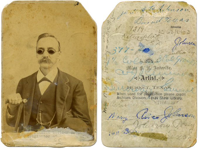 "AR ""Stovepipe"" Johnson, mustachioed older gentleman in suit and dark glasses. Photo courtesy of Archives Division, Texas State Library"