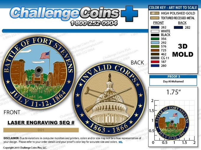 Coin Proofs - Cannon on Front, Capitol with Crossed Crutch and Enfield Rifle on Back