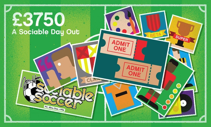 £3750 – A SOCIABLE DAY OUT – All previous rewards plus:  A day with Sociable Soccer designer Jon Hare starting at an English Premier League match and nicely rounded off with a slap up meal and drinks at a top restaurant.