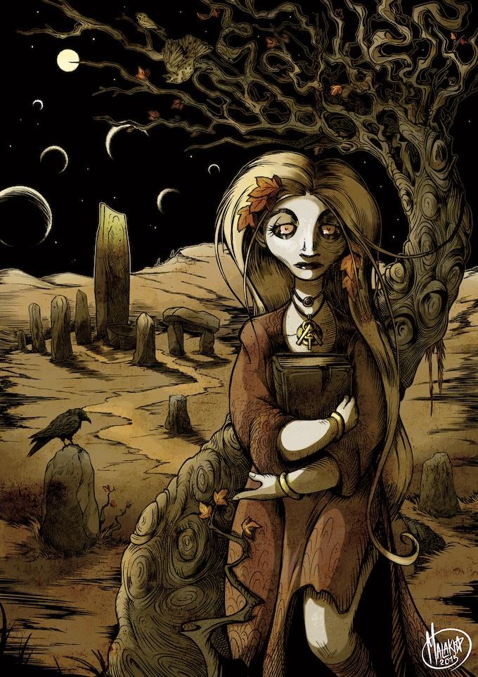 """Lavinia in Autumn"" - poem by Ann K. Schwader, art by Sara Bardi"