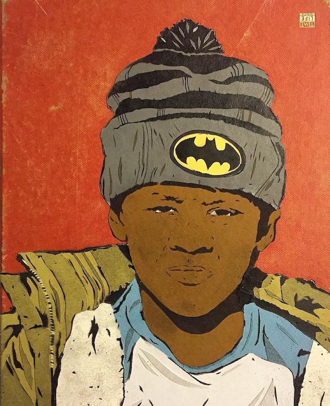Chris Stain original stencil + cut paper, 1/1