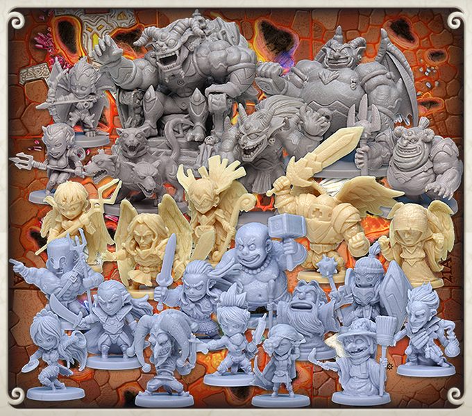 Production plastic miniatures of the Inferno monsters, angels, and heroes.