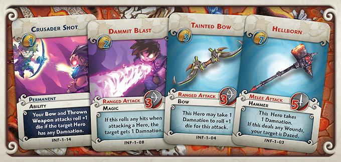 Many of the Upgrade cards use Damnation to punish or reward heroes.