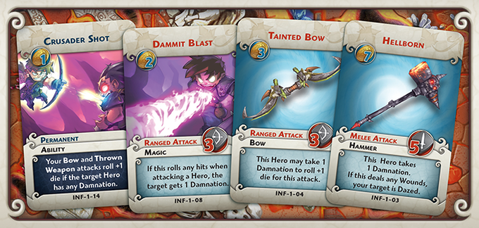 Many of the Upgrade cards use Damnation to punish or reward heroes.