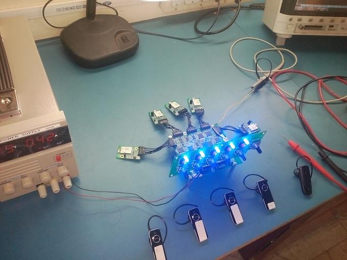 The next prototype used custom-designed circuit boards